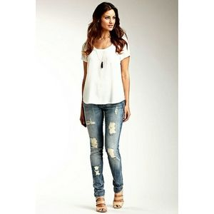 7 For All Mankind Roxanne Ripped Skinny Jeans